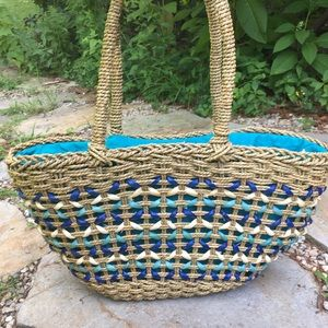 LUCKY BRAND Rattan Seagrass Maize Drawstring Tote